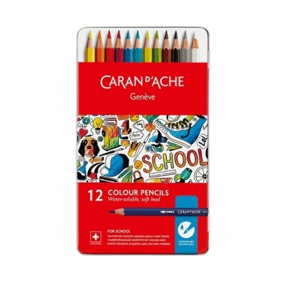 Lapices De Colores Caran Dache School Acuarelable X 12 Lata 1290-312 Cod. 089025291290312