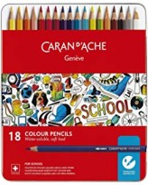 Lapices De Colores Caran Dache School Acuarelable X 18 Lata 1290-318 Cod. 089025291290318